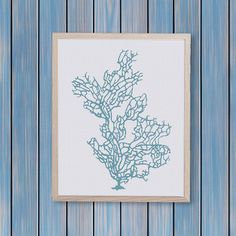 Coral natural counted cross stitch pattern coastal por ThuHaDesign
