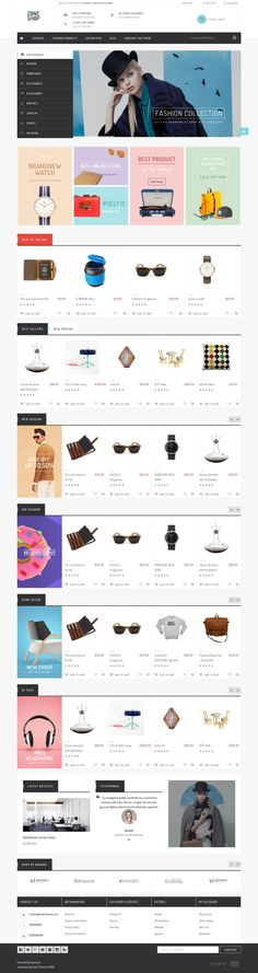 Buy Zoneshop – A marvelous shopping OpenCart theme by ZookaStudio on ThemeForest. Zoneshop template is purely designed for retailer businesses. Website Design Layout, Homepage Design, Web Layout, Layout Design, Ux Design, Mall Design, Wordpress Theme Design, Catalog Design, User Interface Design