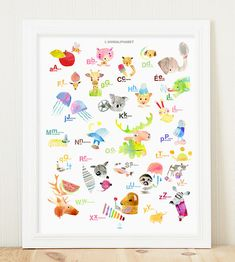 French English Alphabet Giclee Poster 26 Illustrations Bilingual Watercolour Paper Large Standard Size Frame Printed in Canada