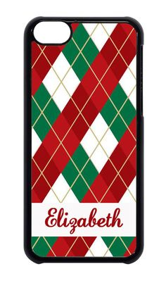 For Apple iPhone 4 4s 5 5s 6 Personalized custom Christmas Argyle Case #Apple