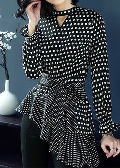 Women's Asymmetrical Blouse For Work Keyhole Neckline Polka Dot Belted Blouse Stylish Dresses, Casual Dresses, Fashion Dresses, Dresses For Work, Blouse Styles, Blouse Designs, Kurti Designs Party Wear, Frack, Classy Dress