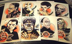 Monster Series by ParlorTattooPrints on Etsy. I adore these. They need to be mine....soon...so sooon.