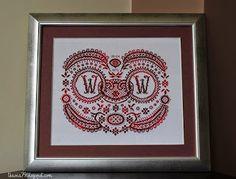 Sampler wedding Anniversary, wedding rings, cross stitch