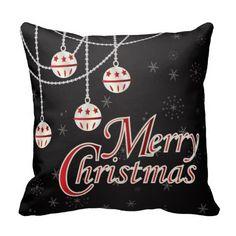 Black, White and Red Merry #Christmas #Pillow #zazzlebesties #zazzle #seasonal