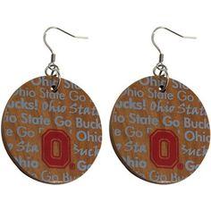 Dayna U Ohio State Buckeyes Infinity Round Wooden Earrings