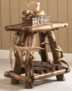 Rustic end table for cabin.
