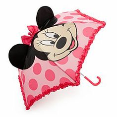 Disney Minnie Mouse 3-D Ear Umbrella for Girls | Disney StoreMinnie Mouse 3-D Ear Umbrella for Girls - Minnie keeps her eyes on the weather with this fun umbrella that features her smiling face, with 3-D ears and bow. The bold pink polka dot design is edged in pretty ruffles so your little one will stay fashionably dry.