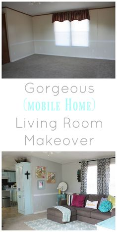 Before and after single wide trailer manufactured mobile - How to decorate a mobile home living room ...