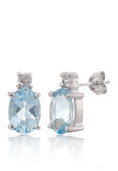 Belk & Co. Aquamarine and Diamond Earrings in 14k White Gold - B