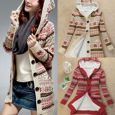 Christmas Fashion Thicken Ladies Warm Snowflake Long Hooded Sweater Outerwear