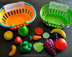 We are back with another collaborative preschool learning post! This week the theme is Food. I am sharing two ways we worked on differentiating between our fruits and vegetables by sorting them, and I am Preschool At Home, Preschool Lessons, Preschool Crafts, Preschool Ideas, Preschool Farm Theme, Circle Time Ideas For Preschool, Preschool Garden, Craft Ideas, Sorting Activities