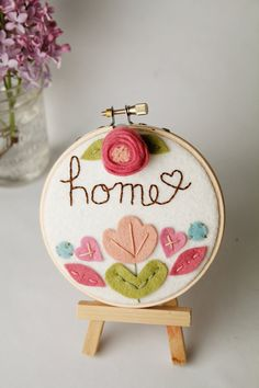 Hoop Art   Home  Felt Flowers  Catshy Crafts by CatshyCrafts, $35.00