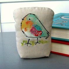 bird  sculpture, fabric bird, stuffed bird, bird pillow, painted bird, appliqued bird,  bird fiber art, bird fabric sculpture, No. 349