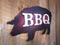 Wooden BBQ Pig Sign by TheSquareNail on Etsy