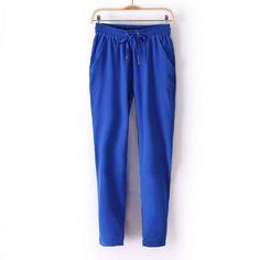Módní dámské barevné volné pohodlné kalhoty modré – Velikost L Na tento  produkt se vztahuje nejen f78fc44c74