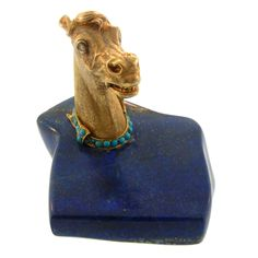 Fabulous Lapis and Gold Horse-Head Desk Object   From a unique collection of vintage desk accessories at http://www.1stdibs.com/jewelry/objets-dart-vertu/desk-accessories/