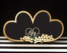 Wedding Drop Box Guest Book Double Heart by BetterOffWed on Etsy