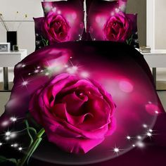 4pcs Suit Polyester Fiber Red Rose Flower Reactive Dyeing Bedding Sets Queen King Size