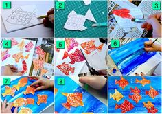 9 steps print con numeri http://arteascuola.com/2016/01/so-many-goldfish-prints-with-styrofoam/
