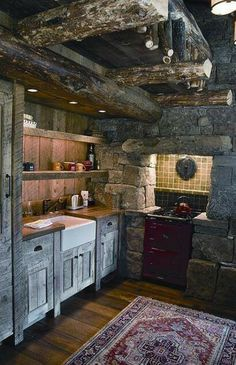 080 Small Log Cabin Homes Ideas Rustic Kitchen Cabinets, Rustic Kitchen Design, Kitchen Decor, Kitchen Ideas, Walnut Kitchen, Kitchen Cupboard, Decorating Kitchen, Kitchen Layout, Kitchen Interior