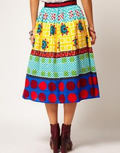 ASOS full skirt in Mix Print