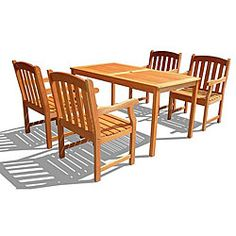 @Overstock - Environmentally friendly, durable and attractive, this outdoor dining set is made from high-density eucalyptus wood. This furniture set includes one table and four chairs.http://www.overstock.com/Home-Garden/Eucalyptus-Wood-English-Garden-XXVII-5-piece-Outdoor-Dining-Set/5153092/product.html?CID=214117 $758.99