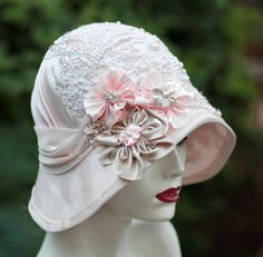 Womens Hats 1920s, Tea Party Hats, Elegant Lace Hats, Vintage Style Hat, Shabby Chic Hat, Cloche Wedding Hat by GailsHats