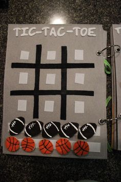 Tic tac toe- quiet book (I have a big storage tote full of quiet book pages that I started before we adopted kids....maybe those pages will get finished for my grandchildren??!!  ~M)