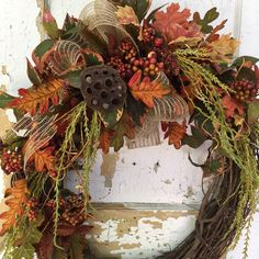 A warm and inviting Fall wreath for you door