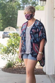 kimono outfit with face mask and striped tee, paired with denim shorts #fashionover40 Kimono Outfit, Shirt Outfit, Outfits With Striped Shirts, Plaid And Leopard, Fashion Over 40, Pattern Mixing, Striped Tee, Chic, My Style