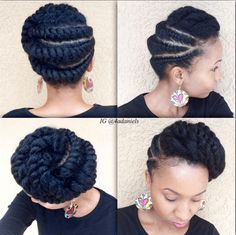 Stunning Flat Twist Protective Style Looking for a way to wear your hair but without needing to rely on cornrows? You need to check out these gorgeous flat twist hairstyles! Flat Twist Hairstyles, Flat Twist Updo, Braided Hairstyles, Black Hairstyles, Beautiful Hairstyles, Hairstyles 2016, Natural Updo Hairstyles, African Hairstyles, Braided Updo