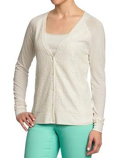 Women's Lace-Front Jersey Cardis | Old Navy