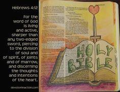 Living and Active – Devotion in Action, Bible art journaling Hebrews 4:12