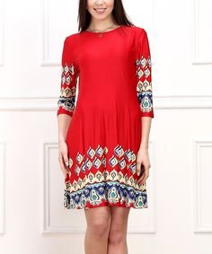 Look at this Red & Navy Paisley Shift Dress on #zulily today!