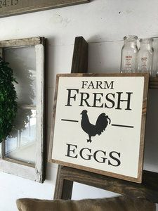 Farm Fresh Eggs | Hand Painted Rustic Farm Sign. Hand Painted by The Rustic Acre in College Station, TX