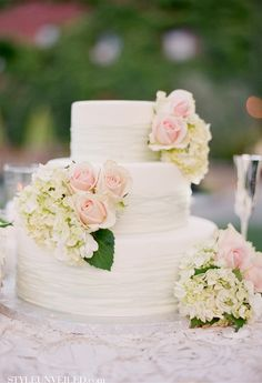 Love, love this cake (minus the color lines, would want all white) and the idea of three small flower blooms.