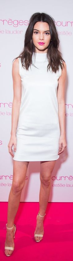 Kendall Worked a White Turtleneck Mini Dress at the Estee Lauder Dinner