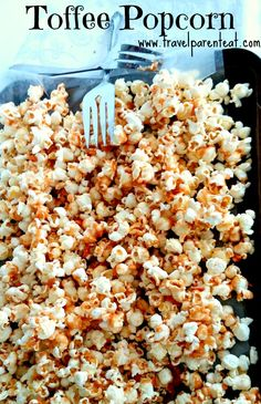 Popcorn covered with a secret family recipe for toffee.  A little crunchy, a  lot of flavor, a great snack any time! Travel Parent Eat