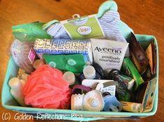 Items in hospital survival kit for new moms. www.GoldenReflectionsBlog.com