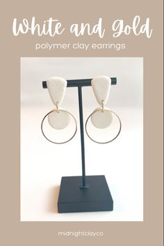 White leather effects polymer clay earrings. Circle shaped earrings with gold earring hoops. Perfect earring for your summer outfit. Give as a unique birthday gift for mom, bridesmaid, or aunt. Shop these modern handmade statement earrings for women in my etsy shop!