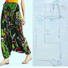 Dress Making Patterns, Easy Sewing Patterns, Clothing Patterns, Sewing Pants, Sewing Clothes, Dress Sewing, Harem Pants Pattern, Couture Sewing, Fashion Sewing