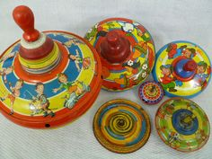 Vintage Toy Spinning Tops Vintage Colors and by FairchildsInc, $58.00