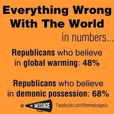 So, at least 68% of republicans are idiots. And that's a conservative number (pardon the pun).