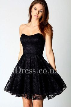 Black Strapless Cocktail Dress with Lace Overlay. ball dresses nz. formal dresses nz. prom dresses nz. #balldresses #promdresses