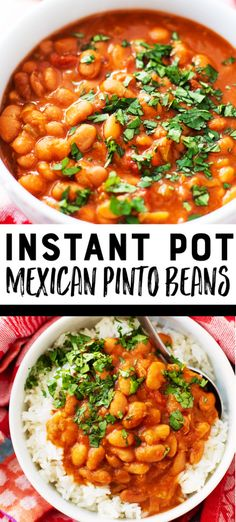 Instant Pot Mexican Pinto Beans Recipe - Easy Mexican pinto beans taste wonderful over rice! Pinto Beans Recipe Easy, Mexican Beans Recipe, Mexican Beans And Rice, Pinto Beans And Rice, Mexican Pinto Beans, Dry Beans Recipe, Pinto Bean Soup, Pinto Bean Recipes, Black Bean Recipes