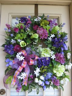 Spring,  Summer,  April,  Easter,  Cottage,  Purple, Plum Petals, Door Wreath.