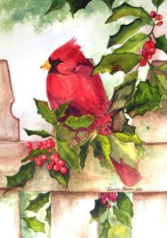 """christmas"" by Tammy Burke: Cardinal on fence with holly and berries surrounding him // Buy prints, posters, canvas and framed wall art directly from thousands of independent working artists at Imagekind.com."
