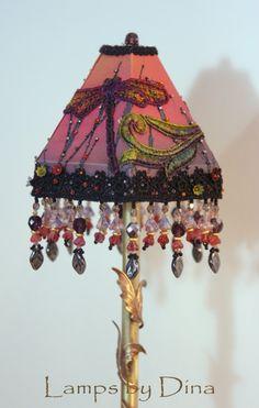 "Dragonflies Flight. Miniature Victorian gothic lamp 41cm.  Suits bjd dolls - Popovy, MSD, 16"" fashion dolls. Powered by 2 x AA batteries."