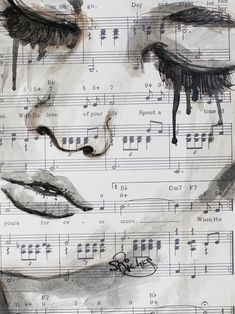 "Saatchi Online Artist: Sara Riches; Pen and Ink, 2013, Drawing ""Forever More""(this would be a great gift for someone who is into music have there face drawn on notes what a great idea)☺"