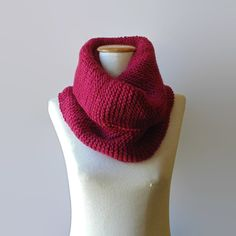 Chunky Cowl Scarf Knit in Red Wool by branda on Etsy